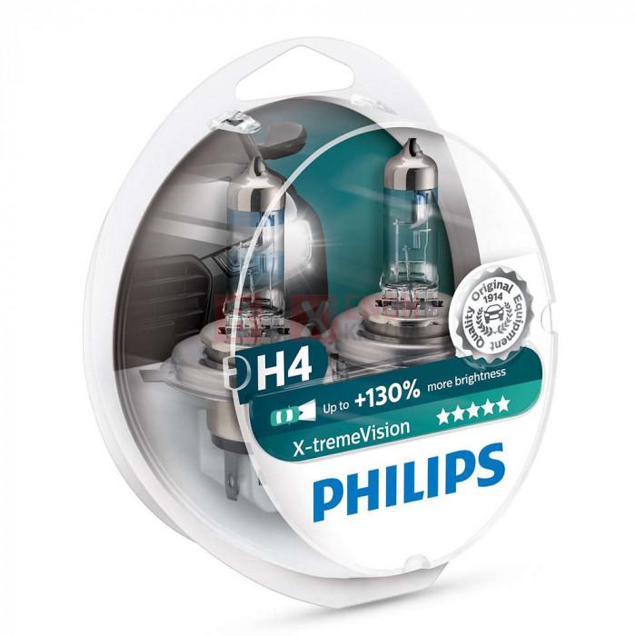 Галогенная лампа PHILIPS H4 X-treme Vision +130% 12342XVSP+