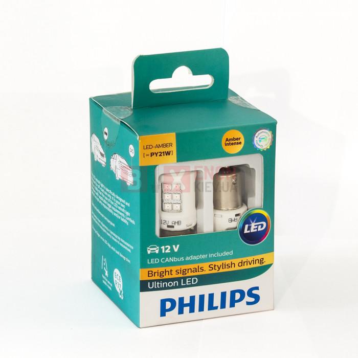 Светодиодная лампа PHILIPS LED PY21W Yellow LED + Smart Canbus