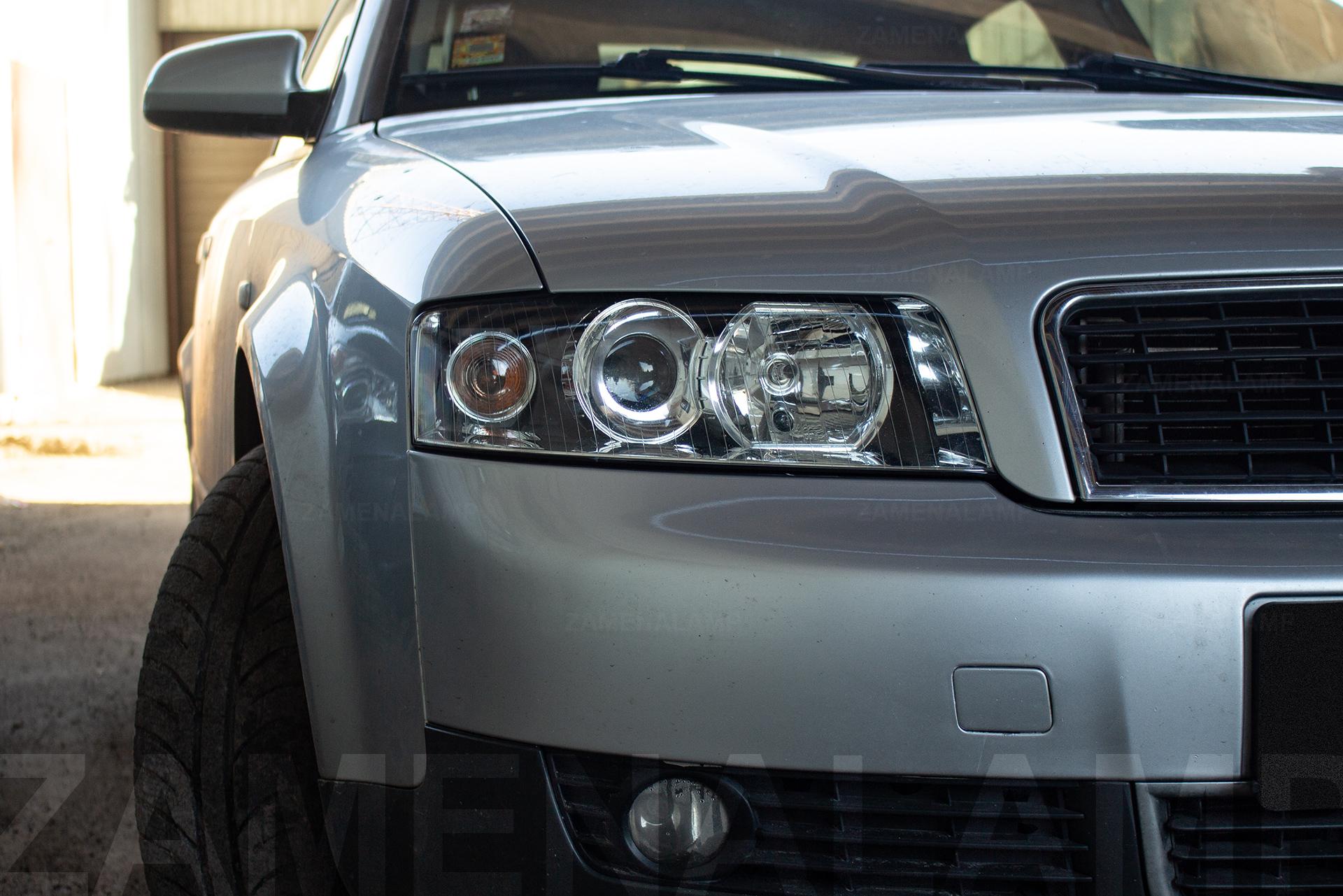 AUDI A4 B6 замена штатных линз на биксеноновые Q5