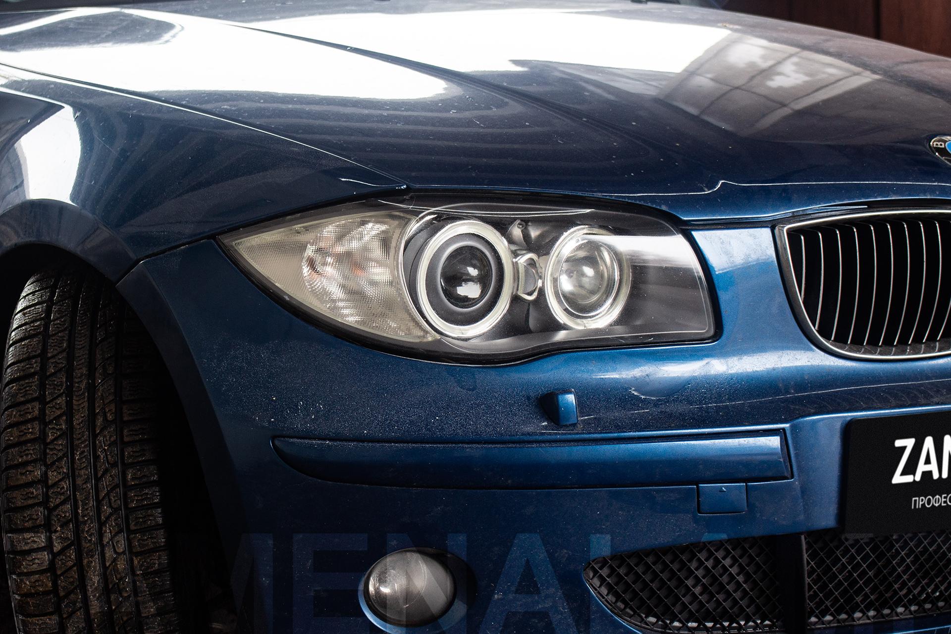 BMW E87 замена штатных линз на биксеноновые Q5