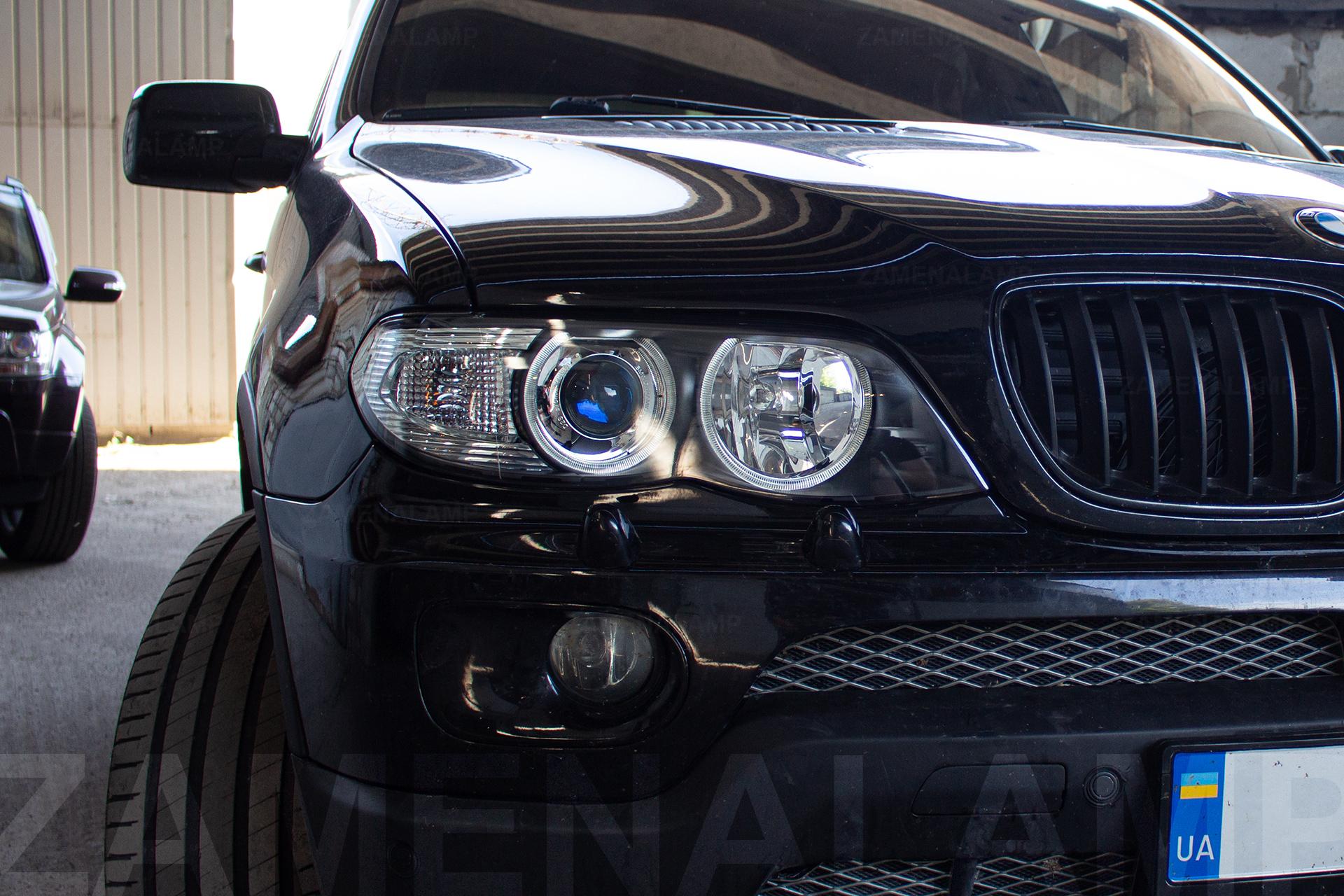 BMW X5 E53 замена штатных линз на Hella 5 Blue